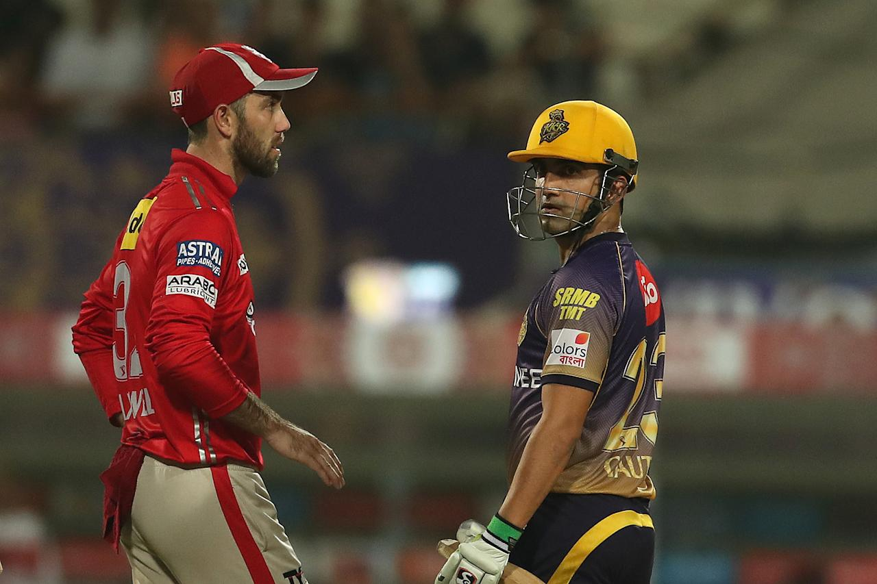 <p>Kolkata Knight Riders captain Gautam Gambhir and Kings XI Punjab captain Glenn Maxwell chat whilst waiting for the decision during match 11 of the Vivo 2017 Indian Premier League between the Kolkata Knight Riders and the Kings X1 Punjab held at the Eden Gardens Stadium in Kolkata, India on the 13th April 2017<br />Photo by Ron Gaunt – Sportzpics – IPL </p>