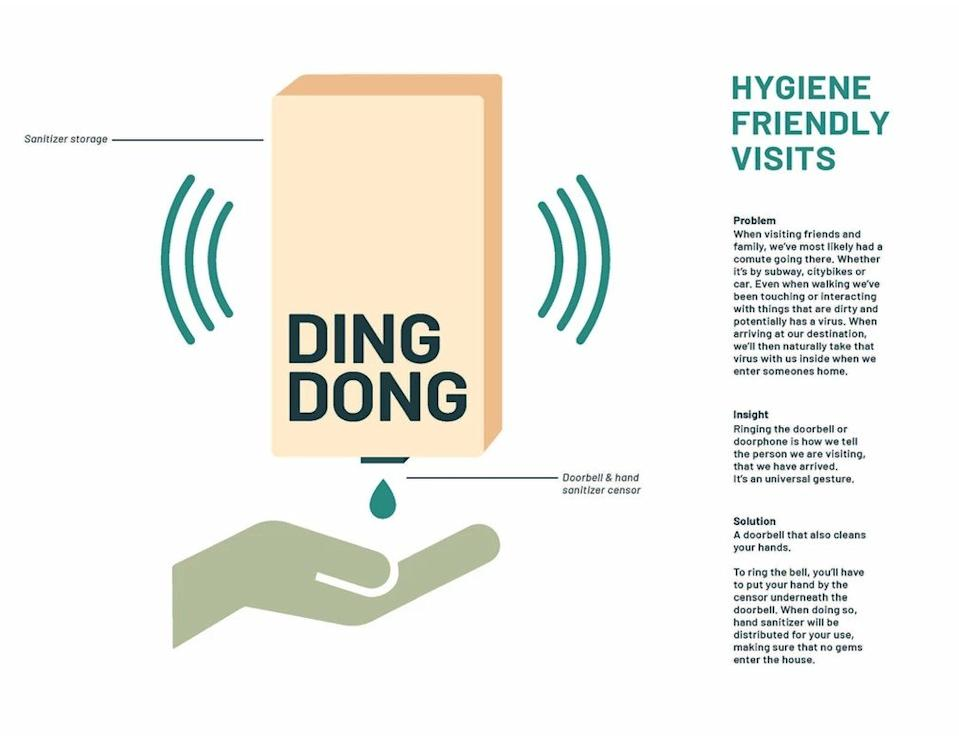 Line Johnsen's Hand Sanitizing-Doorbell Solution, one of eight winning designs in Bompas & Parr's new