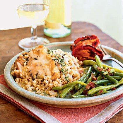 """<p>Parmesan cheese adds a nutty, salty flavor to this <a href=""""https://www.myrecipes.com/chicken-recipes/"""" rel=""""nofollow noopener"""" target=""""_blank"""" data-ylk=""""slk:chicken"""" class=""""link rapid-noclick-resp"""">chicken</a> <a href=""""https://www.myrecipes.com/casserole-recipes/"""" rel=""""nofollow noopener"""" target=""""_blank"""" data-ylk=""""slk:casserole"""" class=""""link rapid-noclick-resp"""">casserole</a> recipe. Garnish the dish with a thyme sprig, if you like. </p><p><a href=""""https://www.myrecipes.com/recipe/parmesan-chicken-rice-casserole"""" rel=""""nofollow noopener"""" target=""""_blank"""" data-ylk=""""slk:Parmesan Chicken and Rice Casserole Recipe"""" class=""""link rapid-noclick-resp"""">Parmesan Chicken and Rice Casserole Recipe</a></p>"""