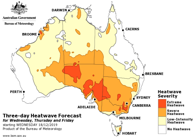 Most of Australia will suffer through a low intensity heatwave, while parts of WA, South Australia, Victoria, NSW and ACT will have extreme heatwave conditions. Source: Bureau of Meteorology.