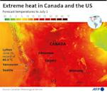 Eastern Canada and the US have posted record temperatures during an extreme heat waves, map showing forecast temperatures to July 1, 2021