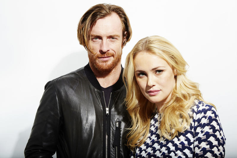 "This Oct. 15, 2013 photo shows Toby Stephens, left, and Hannah New, from the new Starz original series, ""Black Sails,"" in New York. The series premieres Saturday, Jan. 25. (Photo by Dan Hallman/Invision/AP)"