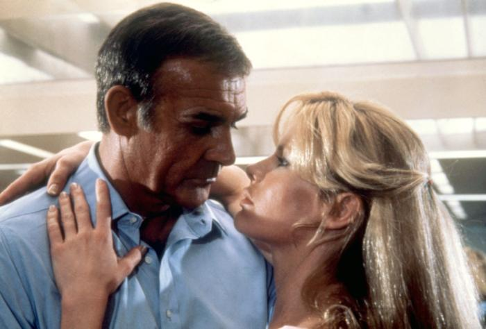 "Sean Connery as James Bond (""Never Say Never Again"") — After 1971's James Bond adventure ""Diamonds Are Forever,"" series star Sean Connery handed in his license to kill, and actor Roger Moore stepped into the 007 role. Connery subsequently said that he would ""never again"" play 007 on film, but actually ended up playing the British super spy twelve years later in 1983's ""Never Say Never Again"" — a title that was meant to be a humorous jab at the actor's earlier comments. The film is an unofficial remake of an earlier Bond movie, 1965's ""Thunderball,"" featuring an older and more seasoned 007."