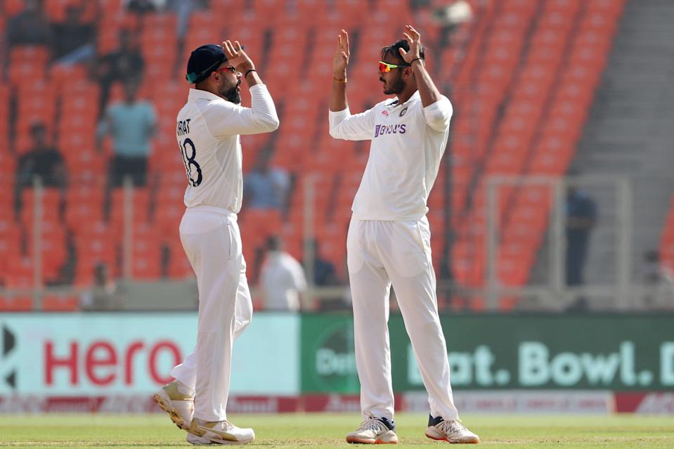 Virat Kohli and Axar Patel celebrate the wicket of Zak Crawley (Getty Images)