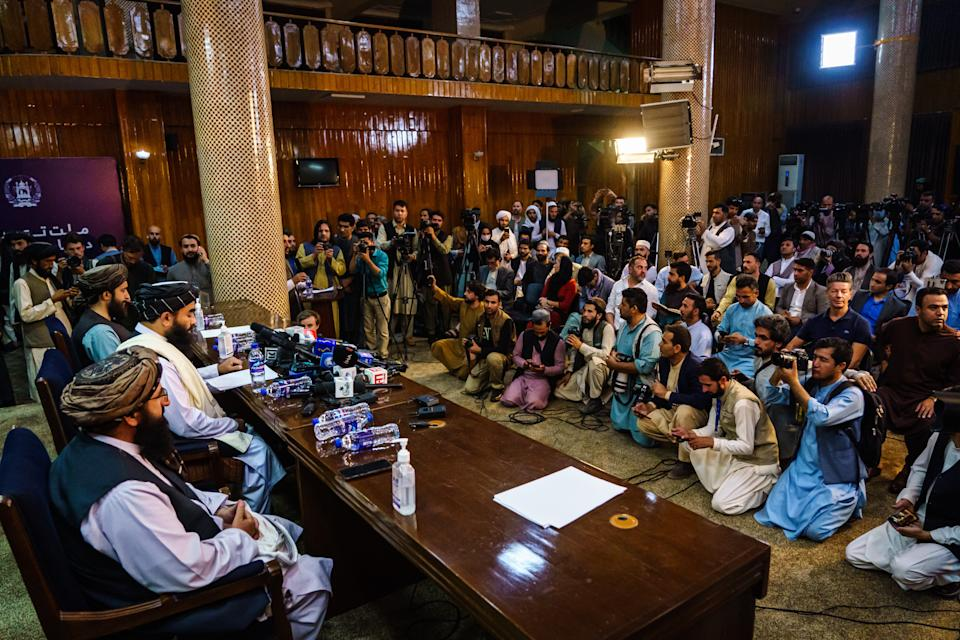 The Taliban spokesperson sought to address concerns about the group's reputation with women's education, appearance and rights, television music and executions, during a press conference in Kabul, Afghanistan. Source: Getty