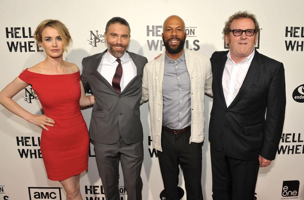"Dominique McElligott, Anson Mount, Common and Colm Meaney gather before the season two premiere screening at the Paley Center for Media in Los Angeles on July 30th. The new season of ""Hell on Wheels"" premieres Sunday, August 12th at 9pm ET/PT on AMC."