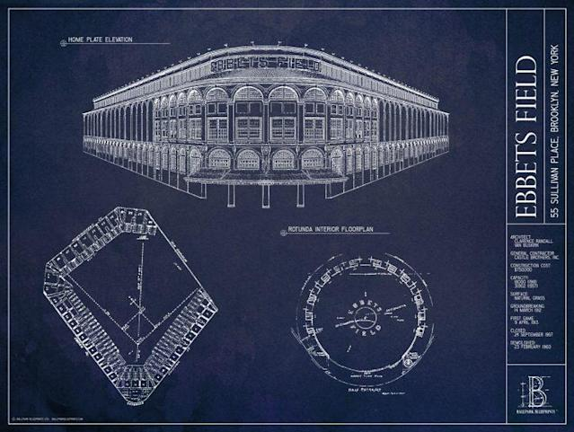 This gorgeous blueprint of Ebbets Field is just one of many you can get at Ballpark Blueprints. (ballparkblueprints.com)