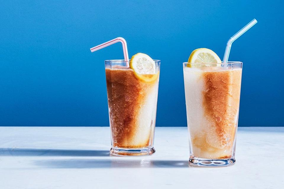 """The classic iced tea and lemonade combo is even better when transformed into a refreshing frozen cocktail for the 4th of July. <a href=""""https://www.epicurious.com/recipes/food/views/frozen-boozy-arnold-palmer?mbid=synd_yahoo_rss"""" rel=""""nofollow noopener"""" target=""""_blank"""" data-ylk=""""slk:See recipe."""" class=""""link rapid-noclick-resp"""">See recipe.</a>"""