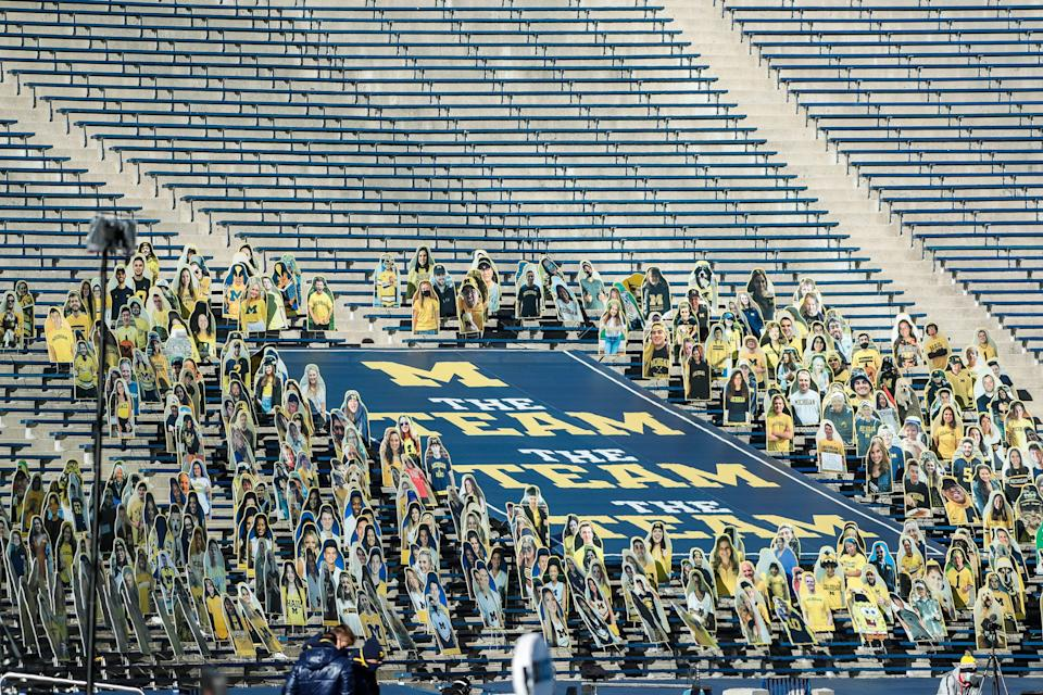 Michigan student section during the first half against Penn State at Michigan Stadium in Ann Arbor, Saturday, Nov. 28, 2020.