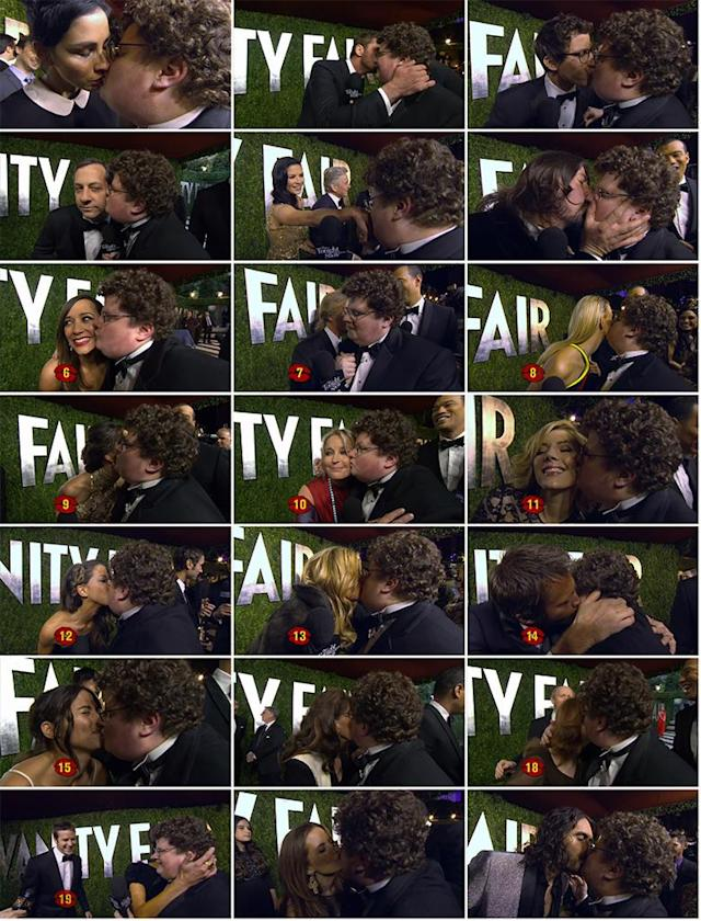 "With support from ""The Tonight Show With Jay Leno"" (and a challenge from Leno himself), Jesse Heiman attended the Vanity Fair Oscar Party on Feb. 24, 2013 to <a href=""https://www.youtube.com/watch?v=nbMe3ukrFaE"" rel=""nofollow noopener"" target=""_blank"" data-ylk=""slk:""collect kisses for Jay"" from celebs"" class=""link rapid-noclick-resp"">""collect kisses for Jay"" from celebs</a>. And he was <a href=""https://www.youtube.com/watch?v=AvVjyWHb3Wo"" rel=""nofollow noopener"" target=""_blank"" data-ylk=""slk:pretty successful"" class=""link rapid-noclick-resp"">pretty successful</a>!<br><br> While the Go Daddy nerd almost convinced the gorgeous Salma Hayek to give him a little smack on the cheek, he got snubbed by Jennifer Lawrence, Halle Berry, and Sandra Bullock -- despite his pleas to ""come kiss me!"" Hugh Jackman offered these words of wisdom to the budding star: ""After that ad, you don't have to kiss anymore. That was all good."" On the other hand, the always-game Sarah Silverman went for it, and then hilariously commented that Heiman tasted like milk. He also got a pretty passionate smooch from Dave Grohl (before the rock star wiped off his mouth) and Russell Brand, who said, ""I find you very comforting… Don't ruin my hair."" After asking to borrow 300 seconds of Gerard Butler's time, he earned a kiss on the cheek from the surprisingly funny actor. ""His accent's hot,"" said a blushing Heiman. Other stars who went the extra mile: Rashida Jones, David Spade, Bo Derek, Jennifer Coolidge, Judd Apatow, and Andy Samberg (who may or may not write a song about Heiman). Bryan Cranston opted to give his wife, Robin Dearden, a romantic kiss instead. Smart move, Cranston! <br><br> The final count: 21 kisses!<br><br>"