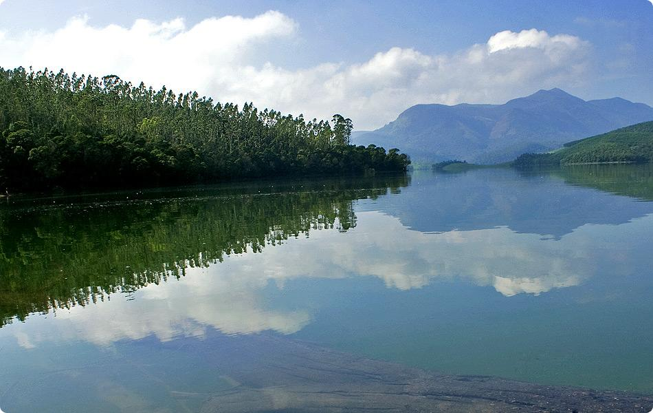 A tranquil lake holds a mirror to the sky.