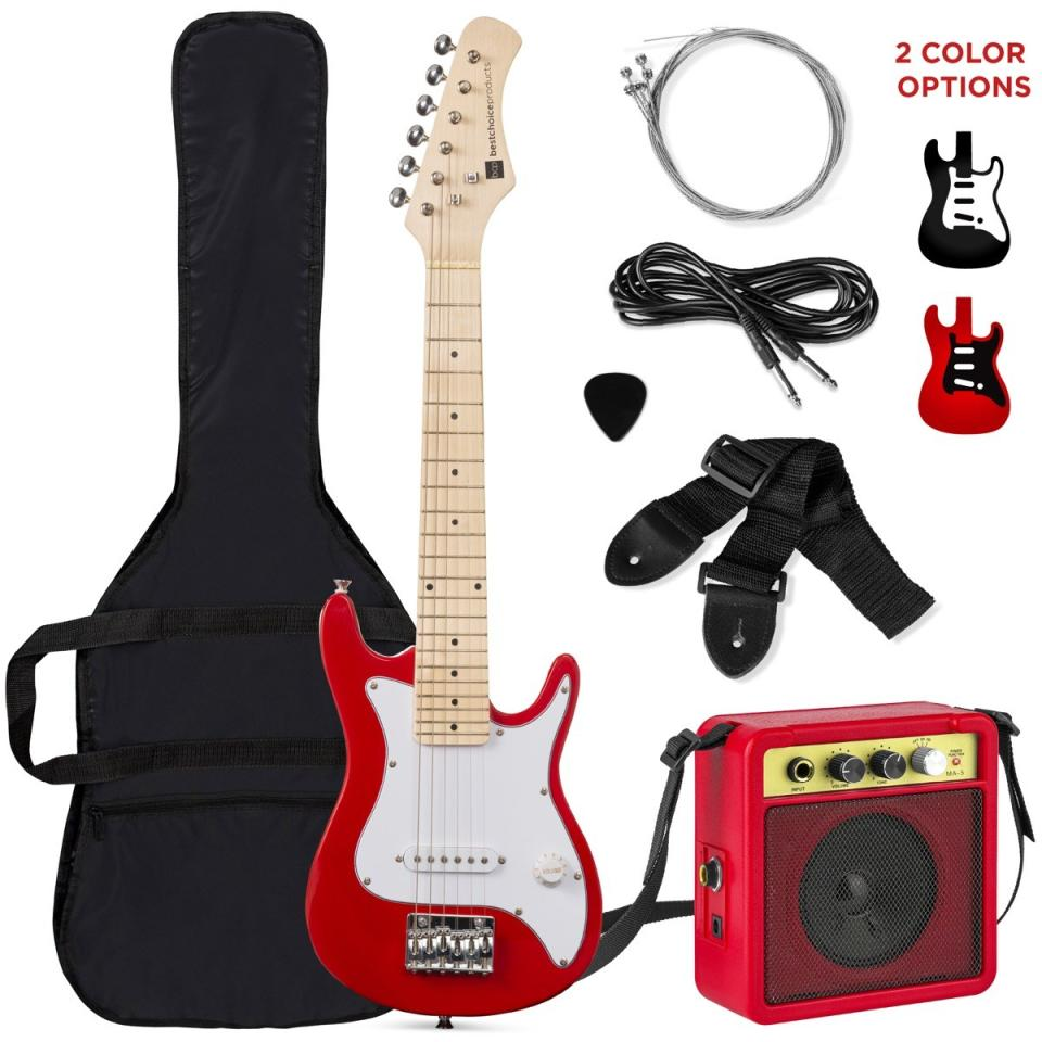 Red electric guitar with accessories