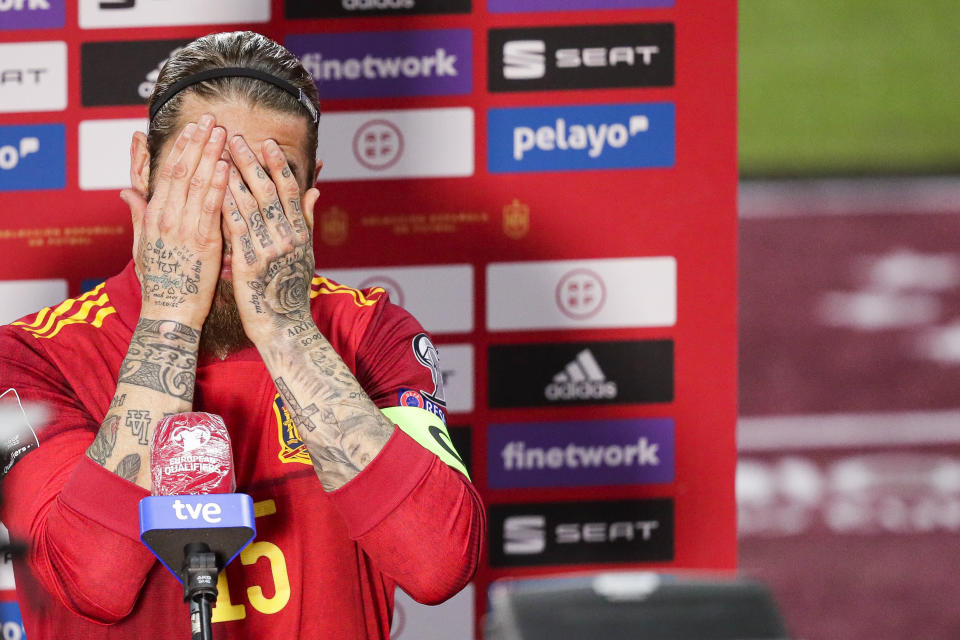 SEVILLA, SPAIN - MARCH 31: Sergio Ramos of Spain during the  World Cup Qualifier  match between Spain  v Kosovo at the  La Cartuja Stadium on March 31, 2021 in Sevilla Spain (Photo by David S. Bustamante/Soccrates/Getty Images)
