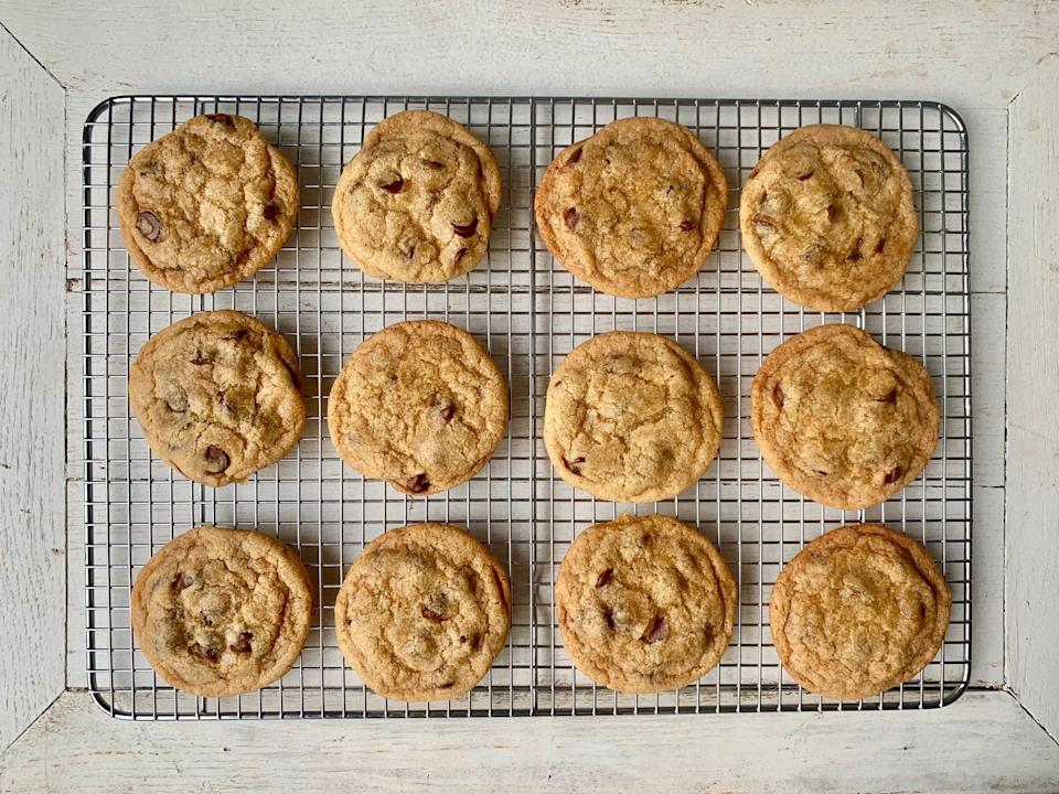 "<p><strong>Recipe: </strong><a href=""http://www.southernliving.com/recipes/vegan-chocolate-chip-cookies"" rel=""nofollow noopener"" target=""_blank"" data-ylk=""slk:Vegan Chocolate Chip Cookies"" class=""link rapid-noclick-resp""><strong>Vegan Chocolate Chip Cookies</strong></a></p> <p>It's no easy task making our <a href=""https://www.southernliving.com/food/classic-comfort-food-recipes"" rel=""nofollow noopener"" target=""_blank"" data-ylk=""slk:favorite Southern comfort food recipes"" class=""link rapid-noclick-resp"">favorite Southern comfort food recipes</a> vegan, but this recipe yields soft chocolate chip cookies you won't realize aren't full of butter and milk.</p>"