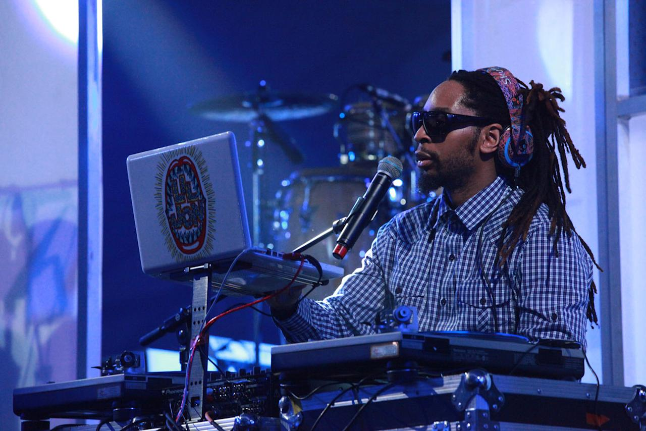 Lil Jon gets the crowd warmed up with a DJ set at the Bud Light Hotel concert in Indianapolis.