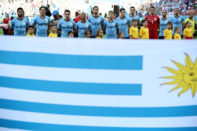 Soccer Football - World Cup - Group A - Uruguay vs Saudi Arabia - Rostov Arena, Rostov-on-Don, Russia - June 20, 2018 Uruguay players line up before the match REUTERS/Marko Djurica