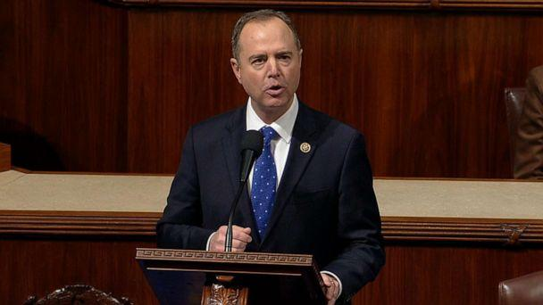 PHOTO: House Intelligence Committee Chairman Adam Schiff speaks on the House floor during a debate on the impeachment articles against President Donald Trump in Washington, Dec. 18, 2019. (House Television)