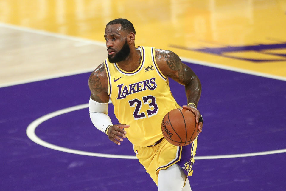 Lebron James has the Lakers within a half-game of a second straight No. 1 seed in the Western Conference. (Meg Oliphant/Getty Images)