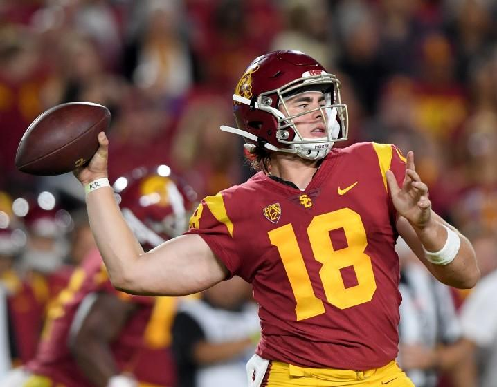 LOS ANGELES, CALIFORNIA - AUGUST 31: JT Daniels #18 of the USC Trojans makes a pass during the second quarter against the Fresno State Bulldogs at Los Angeles Memorial Coliseum on August 31, 2019 in Los Angeles, California. (Photo by Harry How/Getty Images) ** OUTS - ELSENT, FPG, CM - OUTS * NM, PH, VA if sourced by CT, LA or MoD **