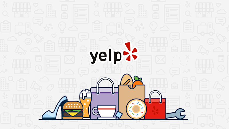 Yelp logo above a cartoon drawing of various shopping bags and items.