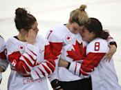 <p>Rebecca Johnston, Laura Stacey and Canada defenseman Laura Fortino (8) await their medals as Canada loses in a shootout to the United States in the Olympic women's hockey gold medal game at the Gangneung Hockey Centre in Gangneung in Pyeongchang in South Korea. February 22, 2018. (Steve Russell/Toronto Star via Getty Images) </p>