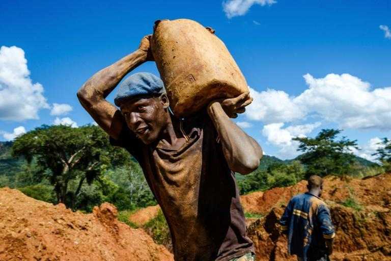 A miner carries a load of ore at Manzou Farm, owned by Grace Mugabe, the wife of former president Robert Mugabe