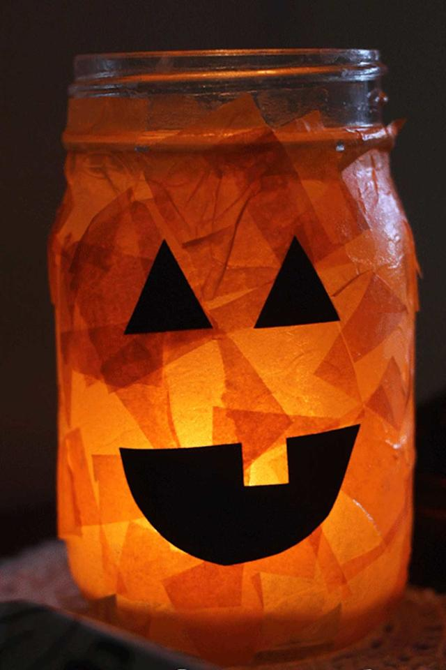 "<p>These easy-to-make Halloween crafts double as party centerpieces! <span></span></p><p><strong>Get the tutorial at <a rel=""nofollow"" href=""http://loveandmarriageblog.com/halloween-craft/"">Love and Marriage</a>.</strong></p><p><strong>What you'll need: </strong><span><em>Mason jars ($18 for 6; <a rel=""nofollow"" href=""https://www.amazon.com/Golden-Spoon-Mason-Jars-Regular/dp/B01LYFJ7WP/?tag=syndication-20"">amazon.com</a>); Orange tissue paper ($8; <a rel=""nofollow"" href=""https://www.amazon.com/Brand-Orange-Bulk-Tissue-Paper/dp/B0045SZW0G/?tag=syndication-20"">amazon.com</a>); Black construction paper ($8; <a rel=""nofollow"" href=""https://www.amazon.com/Pacon-Construction-9-Inches-12-Inches-103607/dp/B00006IDOY?tag=syndication-20"">amazon.com</a>);  Mod Podge ($6; <a rel=""nofollow"" href=""https://www.amazon.com/Mod-Podge-Waterbase-8-Ounce-CS11301/dp/B000HWY6EM?tag=syndication-20"">amazon.com</a>); Sponge brush ($6 for 25; <a rel=""nofollow"" href=""https://www.amazon.com/Cornell-842-25-Piece-Brush-1-Inch/dp/B000W5IACS?tag=syndication-20"">amazon.com</a>)</em></span></p>"