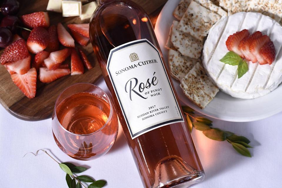 <p>It's not summer without a glass of Rosé, we say! To dress up this perfectly pink beverage, try this recipe from Sonoma-Cutrer. Rosé has roughly 120 calories per glass, and all the extra ingredients here amount to fewer than 15 calories. </p><p><br><strong>Ingredients: </strong></p> <ul> <li>4 oz. Sonoma-Cutrer Rosé of Pinot Noir, chilled </li> <li>2 oz. club soda or sparkling water </li> <li>Squeeze of fresh lemon </li> <li>Garnish with fresh strawberry </li> </ul> <p><strong>Directions: </strong>Simply combine all the ingredients, and you're ready to go!</p>