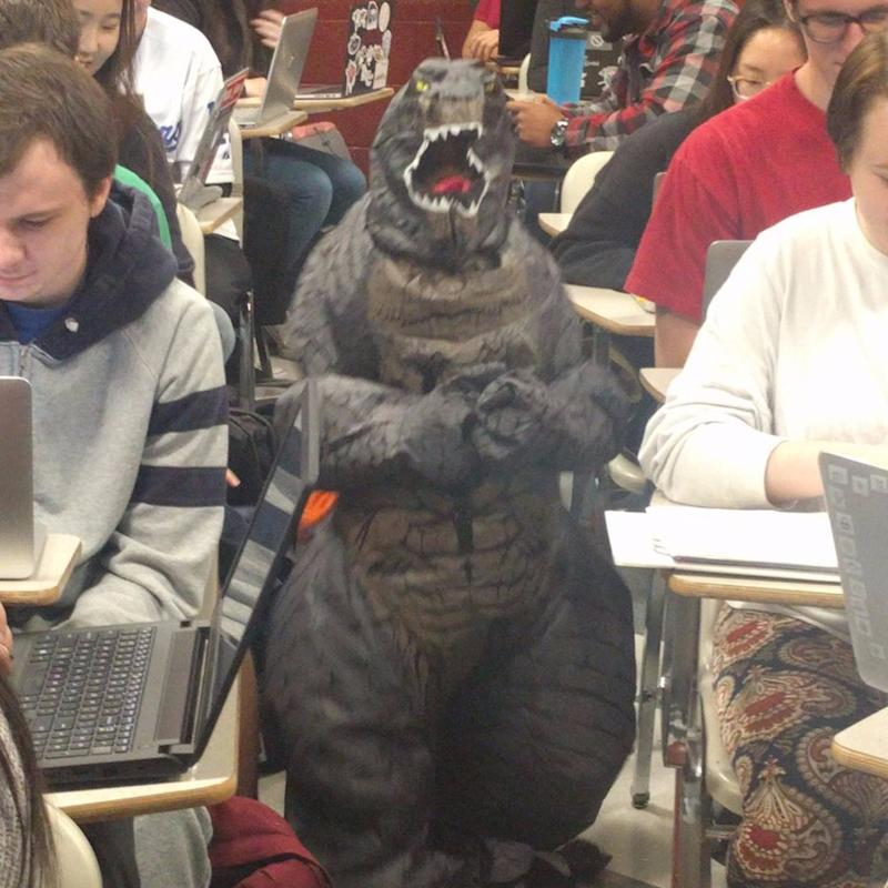 Teacher Brings Her Son to Work Dressed as Godzilla - and That's Not Even the Best Part!
