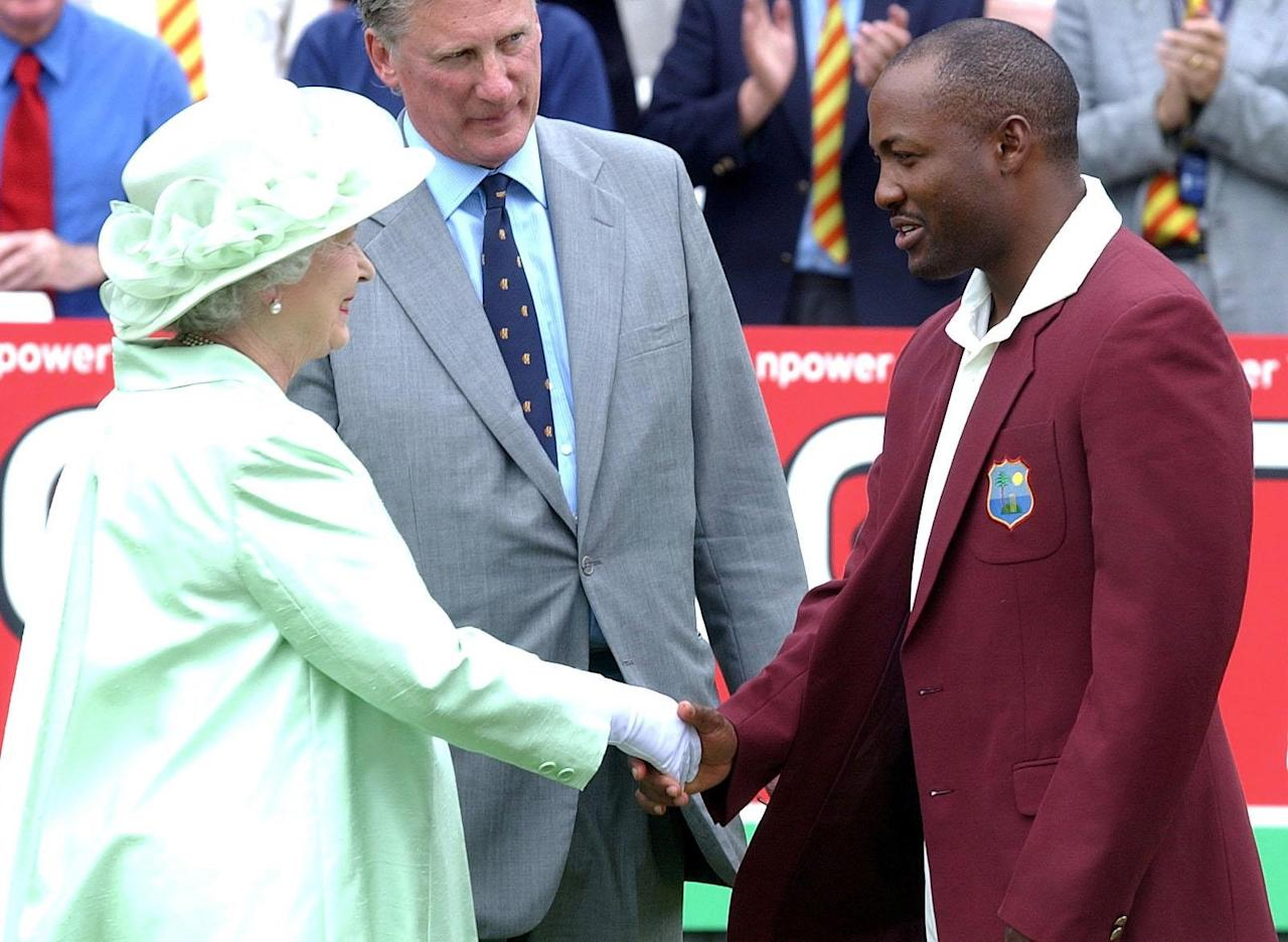 LONDON, UNITED KINGDOM - JULY 22:  Britain's Queen Elizabeth II Meets With West Indies Captain Brian Lara During The First Day Of The Npower Test Against England At Lords Cricket Ground In London  (Photo by Tim Graham Picture Library/Getty Images)