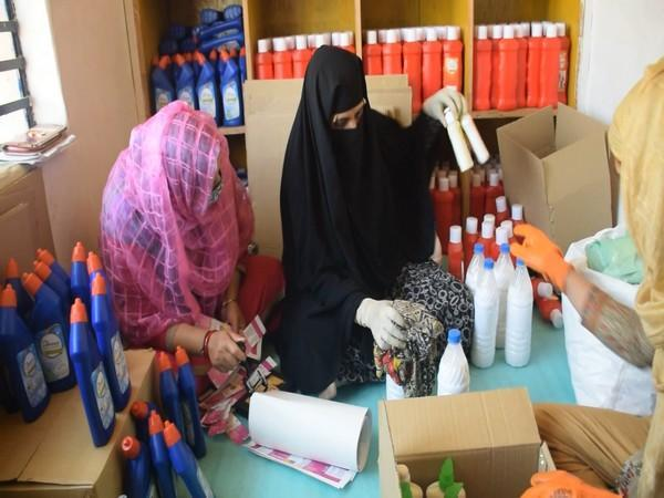 Women from Self Help Group packing and branding cleaning reagents (Photo/ANI)