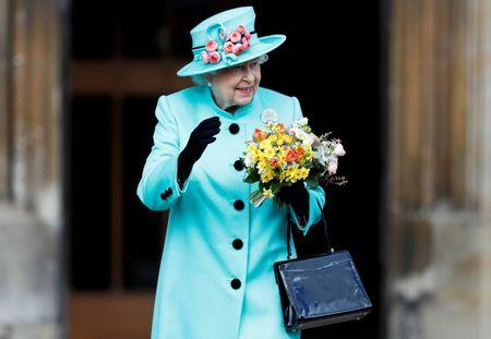 Britain's Queen Elizabeth leaves the Easter Sunday service in Windsor Castle, in Windsor