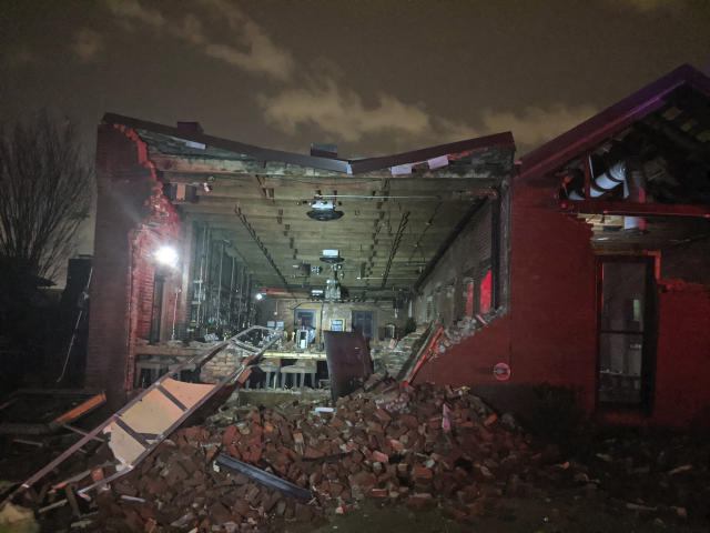 The Geist restaurant brick wall collapsed in a tornado that touched down in downtown Nashville, Tuesday, March 3, 2020. (Alex Carlson via AP)