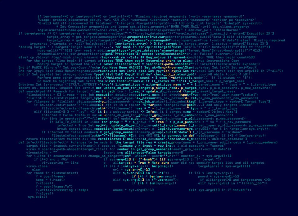 computer virus or hacker concept, programming script combined with shape of skull