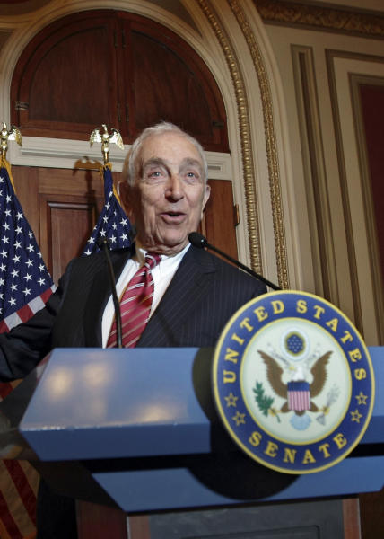"FILE - In this Nov. 2, 2011, file photo Sen. Frank Lautenberg, D-N.J., speaks during a news conference on Capitol Hill in Washington. Lautenberg is one of the comeback crew of U.S. senators, who served for years, bowed out because of a term-limits promise or the frustration of endless fundraising and then discovered couldn't quit the place. Lautenberg left the Senate in January 2001 after 18 years. Then came Sept. 11 and the terrorist attacks. ""I realized I made a mistake. With my experience, I'm not there, the war is starting, the recession's starting,"" Lautenberg said in an interview. ""I missed it terribly. I felt helpless."" (AP Photo/J. Scott Applewhite, File)"