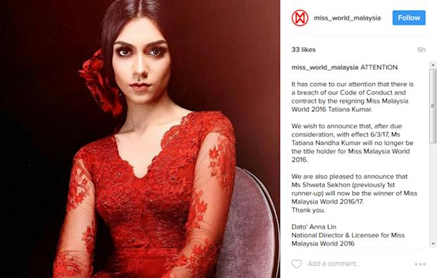 Tatiana was stripped of her crown for 'offensive' comments online. — Instagram screengrab