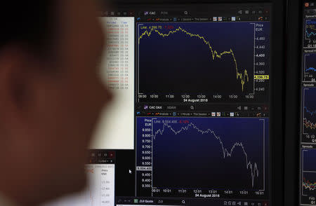 A journalist looks at a screen in this illustration photo that shows graphics representing the losses in the French CAC 40 (Top) and German DAX (Bottom) stock indexes in Paris, France, August 24, 2015. REUTERS/Regis Duvignau