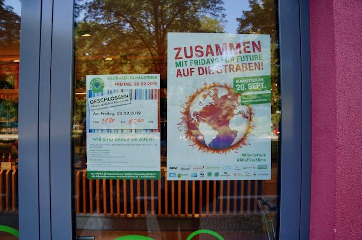 A sign at a vegan grocery store in Berlin informs customers the shop will be closed during the global climate strike on Sept. 20, 2019.