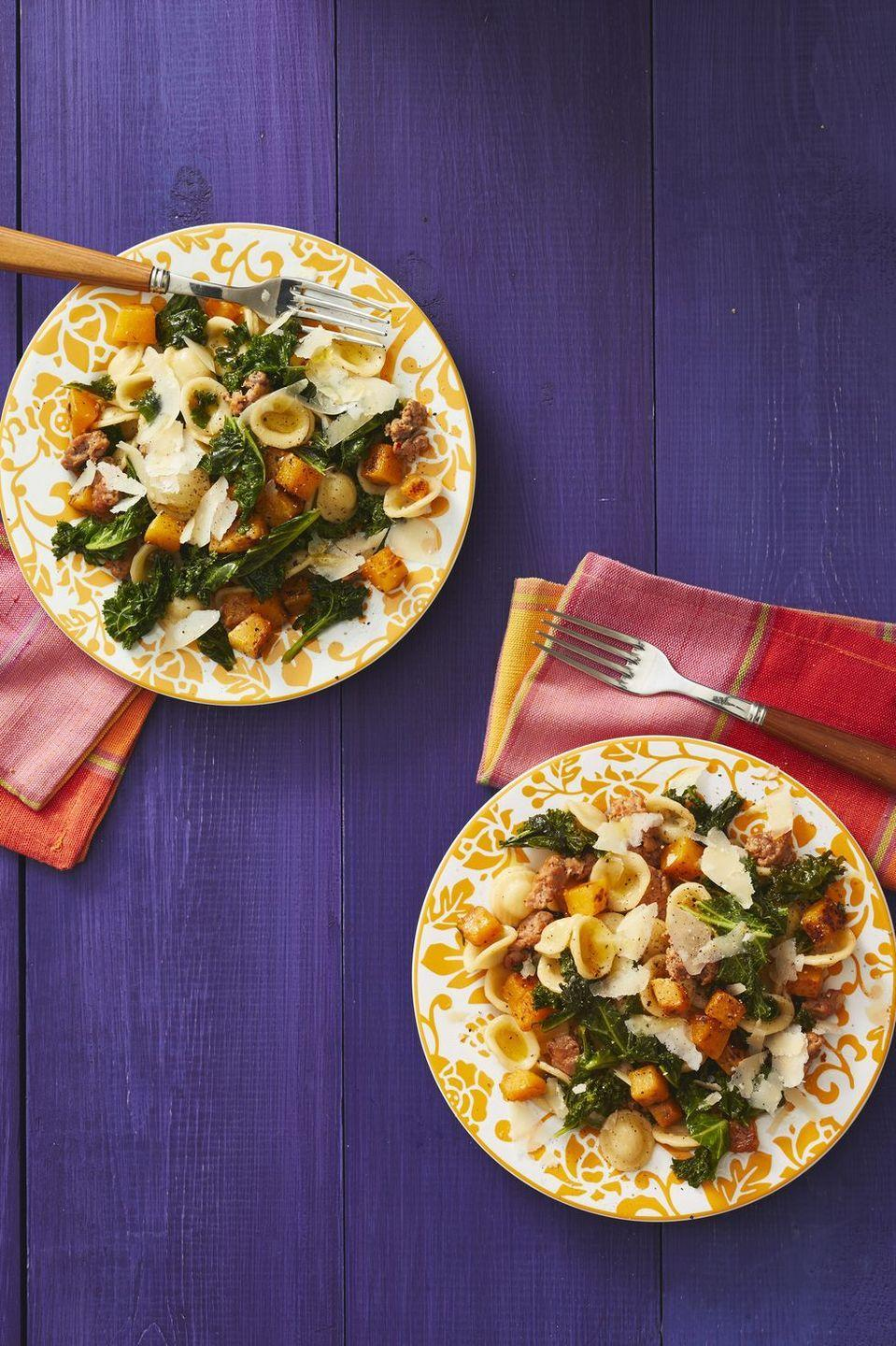 """<p>Come fall, there are tons of <a href=""""https://www.thepioneerwoman.com/food-cooking/meals-menus/g32945445/butternut-squash-recipes/"""" rel=""""nofollow noopener"""" target=""""_blank"""" data-ylk=""""slk:butternut squash recipes"""" class=""""link rapid-noclick-resp"""">butternut squash recipes</a> worth trying—and this should definitely be one of them! It's cozy, comforting, and easy to make in under an hour! </p><p><a href=""""https://www.thepioneerwoman.com/food-cooking/recipes/a32946296/orecchiette-with-butternut-squash-kale-and-sausage-recipe/"""" rel=""""nofollow noopener"""" target=""""_blank"""" data-ylk=""""slk:Get Ree's recipe."""" class=""""link rapid-noclick-resp""""><strong>Get Ree's recipe. </strong></a></p><p><a class=""""link rapid-noclick-resp"""" href=""""https://go.redirectingat.com?id=74968X1596630&url=https%3A%2F%2Fwww.walmart.com%2Fsearch%2F%3Fquery%3Dstock%2Bpots&sref=https%3A%2F%2Fwww.thepioneerwoman.com%2Ffood-cooking%2Fmeals-menus%2Fg37078352%2Fitalian-sausage-recipes%2F"""" rel=""""nofollow noopener"""" target=""""_blank"""" data-ylk=""""slk:SHOP POTS"""">SHOP POTS</a></p>"""