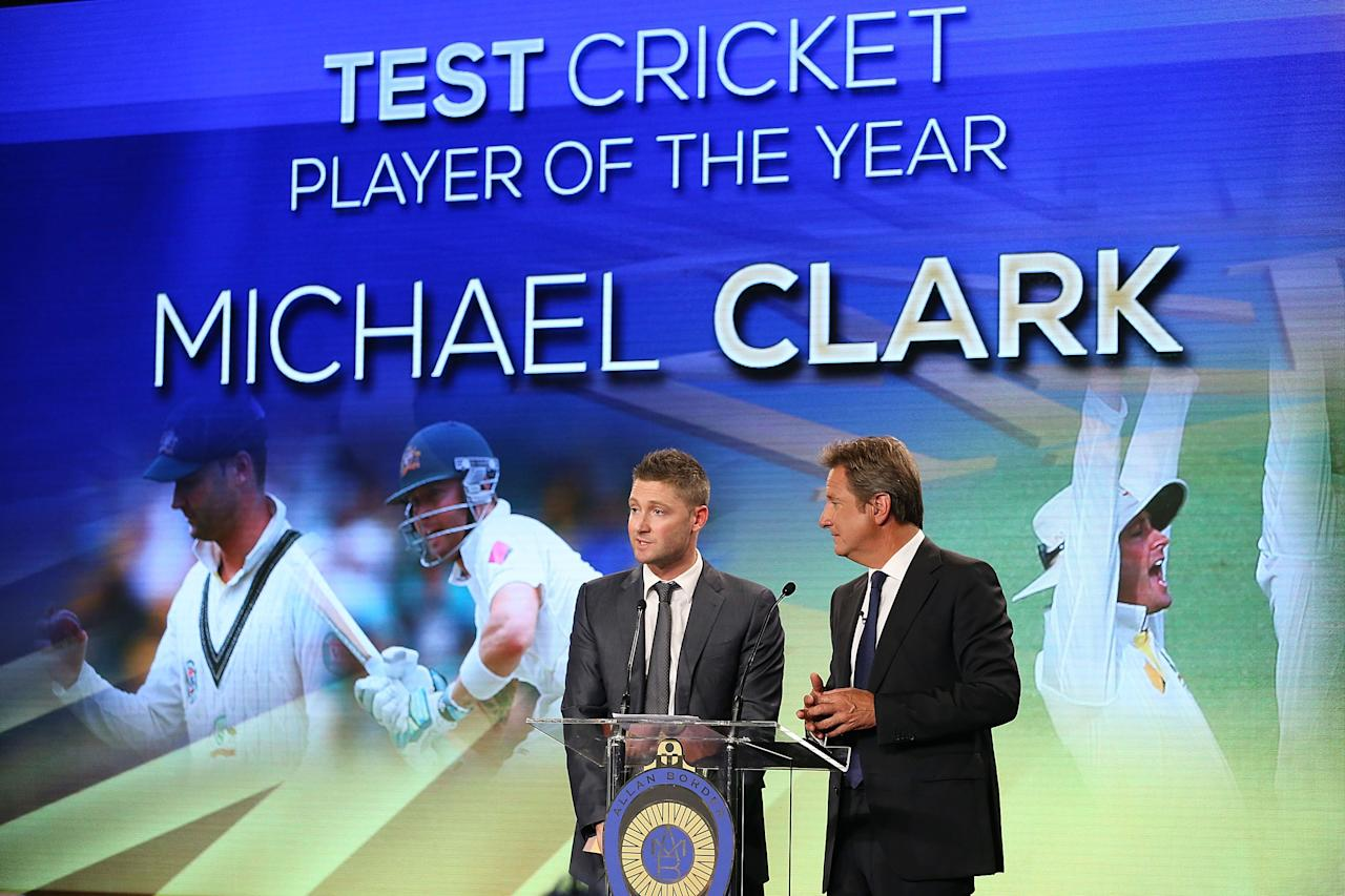 SYDNEY, AUSTRALIA - JANUARY 20:  Michael Clarke talks on stage after being named the Test Cricket Player Of The Year during the 2014 Allan Border Medal at Doltone House on January 20, 2014 in Sydney, Australia.  (Photo by Mark Metcalfe/Getty Images)