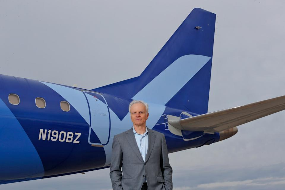 David Neeleman in front of Breeze's Embraer E-190 aircraft. (CeanOrrett/Courtesy Breeze Airways)