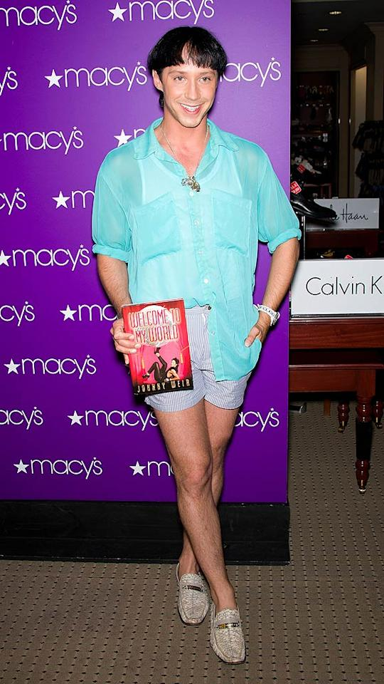 "Speaking of aqua-colored atrocities, check out the bright blouse pro figure skater Johnny Weir paired with striped short shorts, buckled loafers, and a butchered hairdo for his book signing at Macy's in Philadelphia, Pennsylvania. Ouzounova/<a href=""http://www.splashnewsonline.com"" target=""new"">Splash News</a> - June 8, 2011"