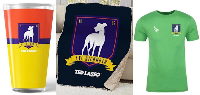 A pint glass, blanket, and green t-shirt for AFC Richmond from Ted Lasso