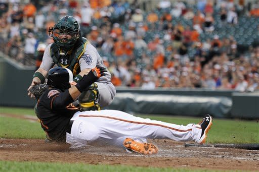 Baltimore Orioles' Nick Markakis, front, slides safely to score at home on a double by J.J. Hardy, against Oakland Athletics catcher Derek Norris, back, during the third inning of a baseball game, Friday, July 27, 2012, in Baltimore. (AP Photo/Nick Wass)