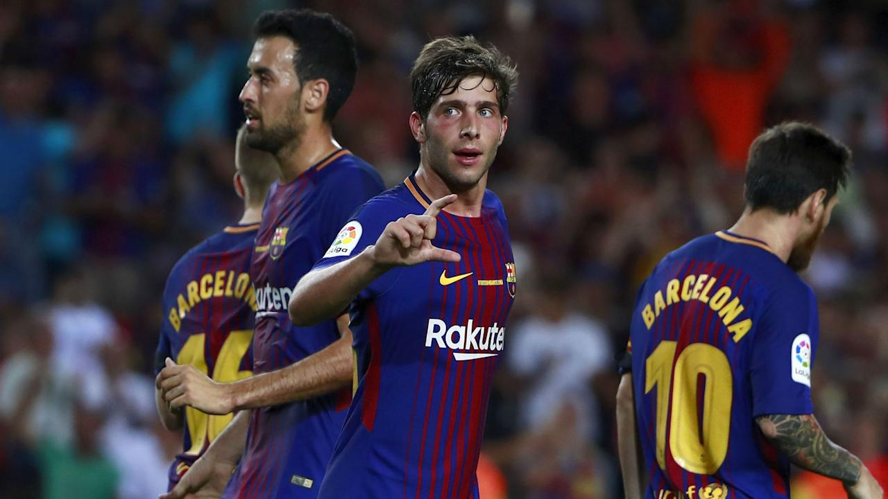 Manchester United and Chelsea have been linked with Sergi Roberto but the Spain international insists he is happy at Barcelona.