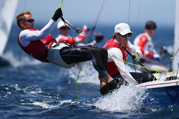 <p>Paul Snow-Hansen and Dan Willcox of Team New Zealand of Team Australia compete in the Men's 470 class on day nine of the Tokyo 2020 Olympic Games at Enoshima Yacht Harbour on August 01, 2021 in Fujisawa, Kanagawa, Japan. (Photo by Clive Mason/Getty Images)</p>