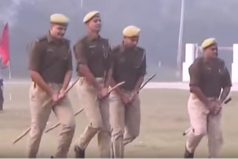 With Batons Between Their Legs, UP Cops Gallop on Imaginary Horses in Crowd Control Drill