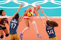 <p>TOKYO, JAPAN - JULY 31: Ebrar Karakurt #99 of Team Turkey strikes against Team Argentina during the Women's Preliminary - Pool B volleyball on day eight of the Tokyo 2020 Olympic Games at Ariake Arena on July 31, 2021 in Tokyo, Japan. (Photo by Toru Hanai/Getty Images)</p>