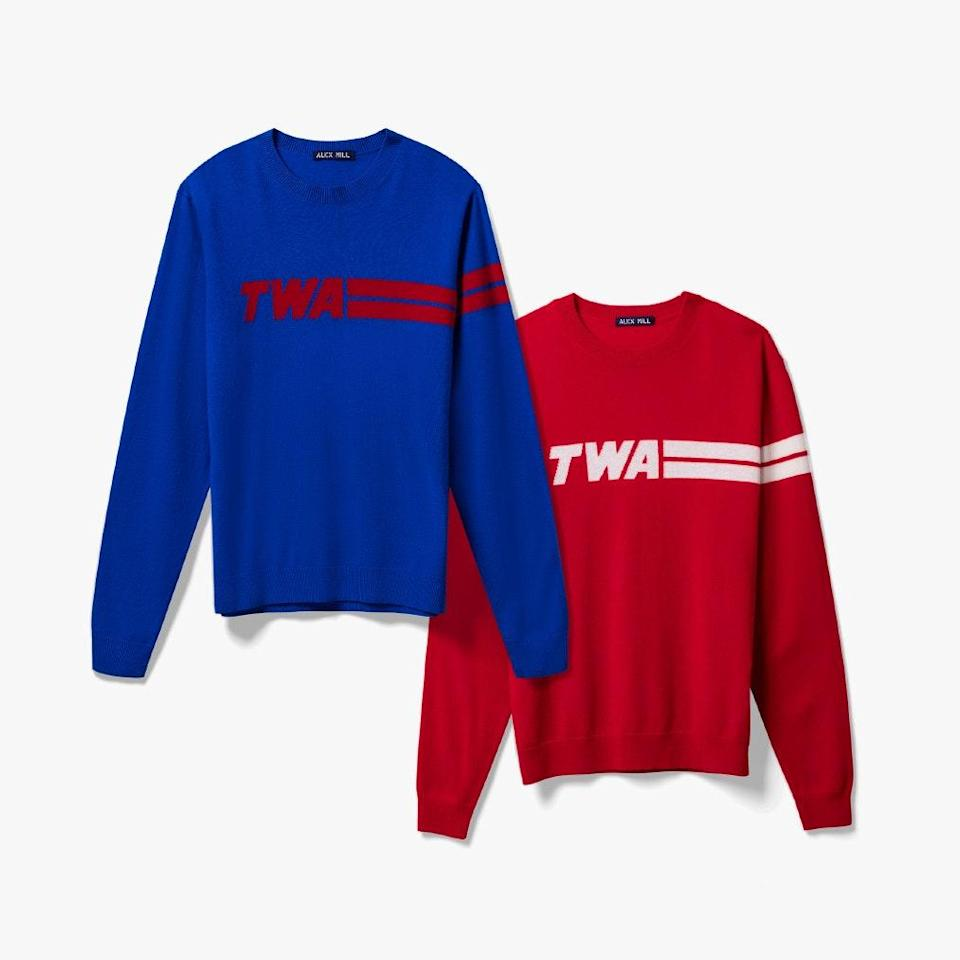"""Walking into the Eero Saarinen masterpiece that is now the TWA Hotel seems to trigger Frank Sinatra's """"Fly Me to The Moon."""" The hotel, heavy with 1960s swagger, has a lovely gift shop where the defunct airline's logo appears on several goodies. We particularly like their cashmere sweaters. $249, TWA. <a href=""""https://shop.twahotel.com/collections/featured/products/sweater-cashmere-alex-mill-twa-logo"""" rel=""""nofollow noopener"""" target=""""_blank"""" data-ylk=""""slk:Get it now!"""" class=""""link rapid-noclick-resp"""">Get it now!</a>"""