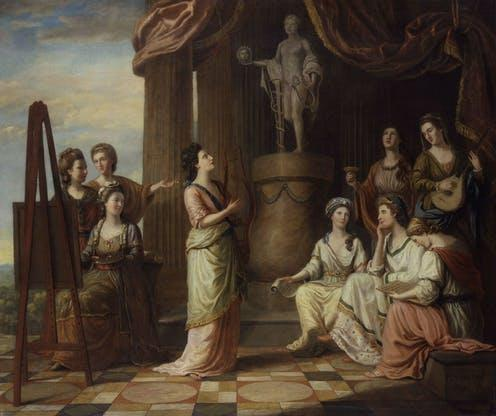 """<span class=""""caption"""">Portrait of the ladies of the Bluestocking Society as the characters of the Muses in the Temple of Apollo.</span> <span class=""""attribution""""><a class=""""link rapid-noclick-resp"""" href=""""https://artuk.org/discover/artworks/portraits-in-the-characters-of-the-muses-in-the-temple-of-apollo-157863"""" rel=""""nofollow noopener"""" target=""""_blank"""" data-ylk=""""slk:National Portrait Gallery"""">National Portrait Gallery</a></span>"""
